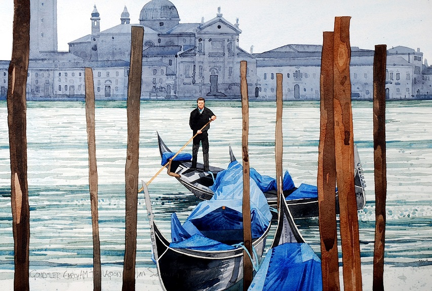 Venice. Gondolier early am copy