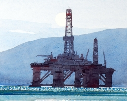Scotland. Oil rigs early AM copy
