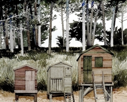 Wells Next the Sea. Three Beach Huts copy